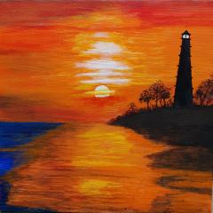 Fyrtårn i solnedgang
