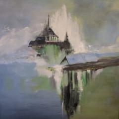 Klosterøen Mont Saint Michel Frankrig, Oliemaleri 80x80